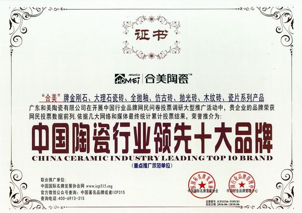 中国陶瓷行业领先十大品牌-合美陶瓷
